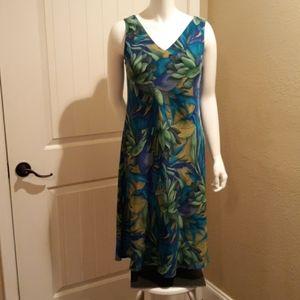 EUC Maggy London Blue/Green Silk Floral Dress …